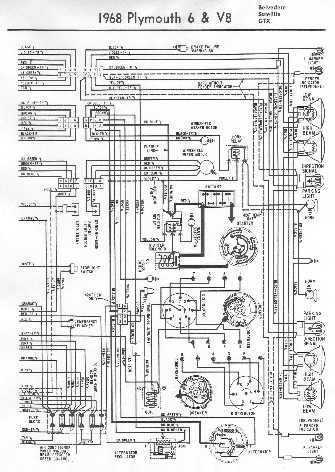 1968 plymouth fury wiring diagram diagram schematic rh yomelaniejo co 1969 Super Bee 1968 GTX Wiring-Diagram