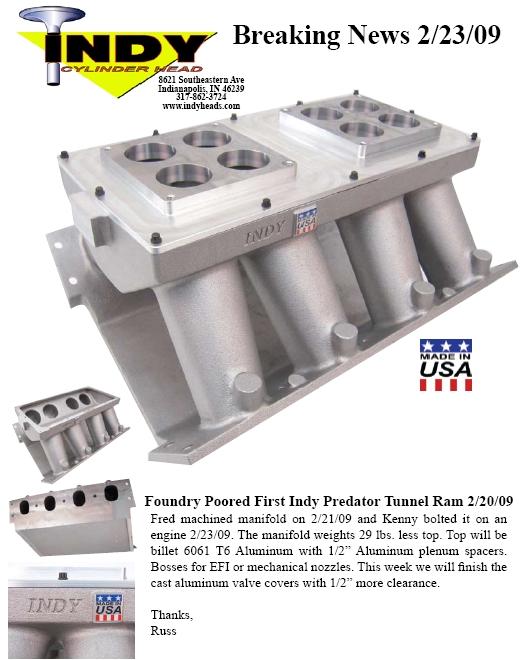 Indy Predator Cast Tunnel Ram   Unlawfl's Race & Engine Tech
