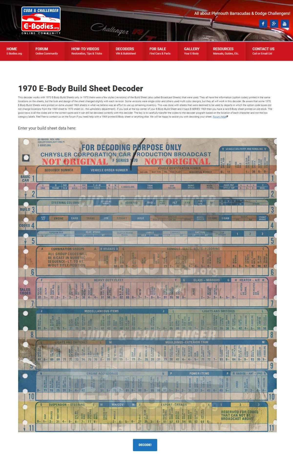 New 1970 online Build Sheet Decoder for E-Bodies  - Moparts