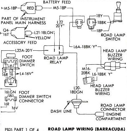 5779383 RoadLampDiagram can a 71 cuda road lamp relay be used in a 70 cuda ? moparts 70 cuda wiring diagram at fashall.co