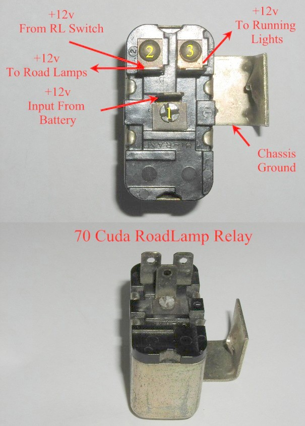 5779421 70RLRelay can a 71 cuda road lamp relay be used in a 70 cuda ? moparts 70 cuda wiring diagram at fashall.co